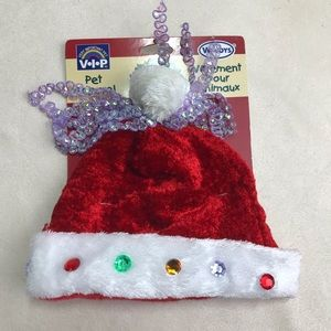 Santa Pet Dog Hat Christmas Bedazzled Holiday Med